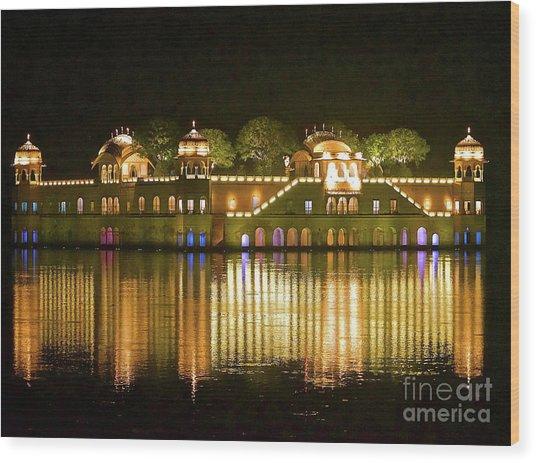 Jal Palace At Night Wood Print