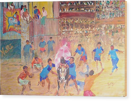 Jallikattu- The Bull Fight Wood Print by Narayan Iyer