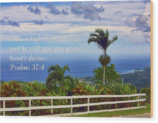 Jamaican Ocean View Ps. 37v4 Wood Print