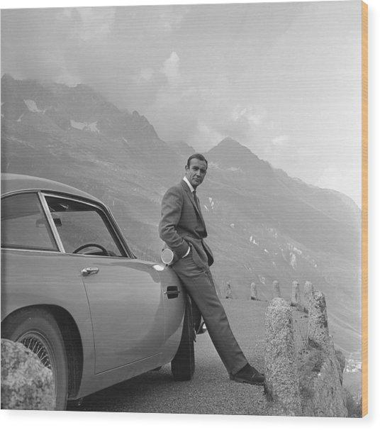 James Bond And His Aston Martin Wood Print
