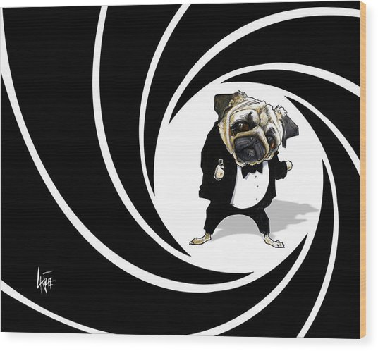 James Bond Pug Caricature Art Print Wood Print