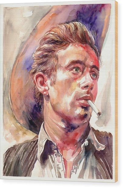 James Dean Portrait Wood Print