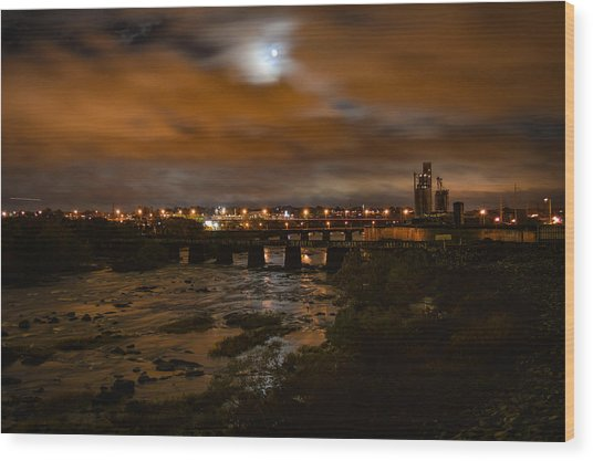James River At Night Wood Print