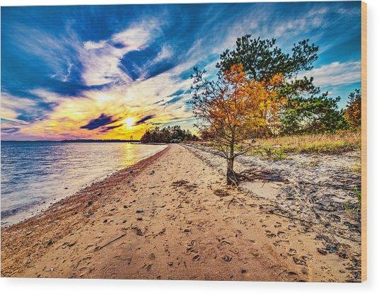 James River Sunset Wood Print