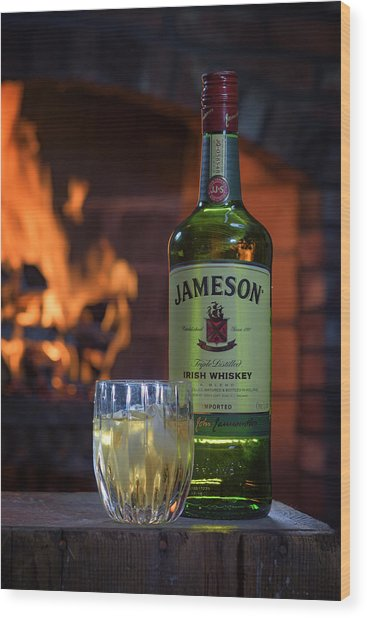 Jameson By The Fire Wood Print