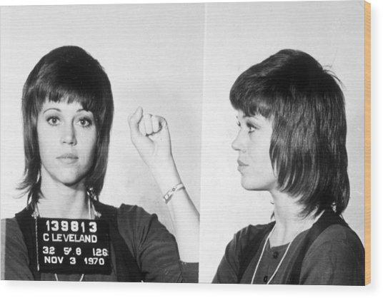 Jane Fonda Mug Shot Horizontal Wood Print