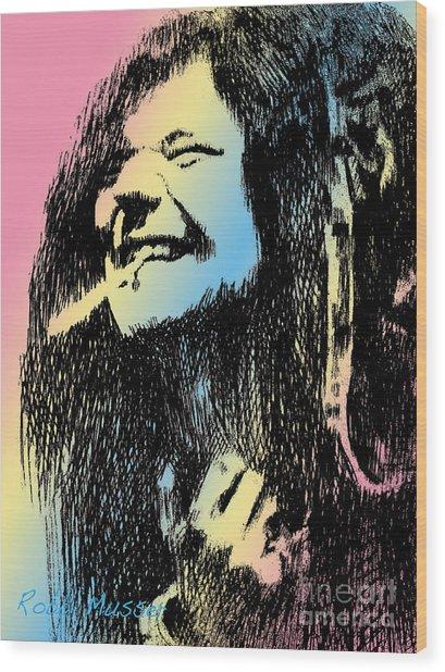 Janis Joplin Wood Print by Robbi  Musser