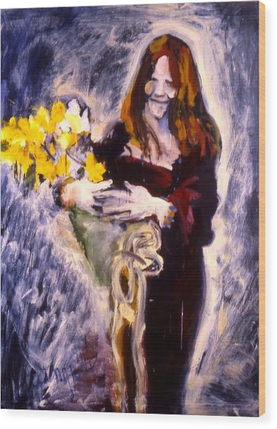 Janis With Yellow Roses Wood Print