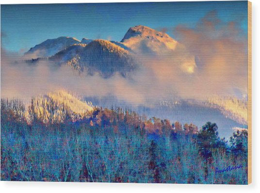 January Evening Truchas Peak Wood Print