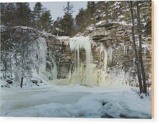 January Morning At Awosting Falls Wood Print
