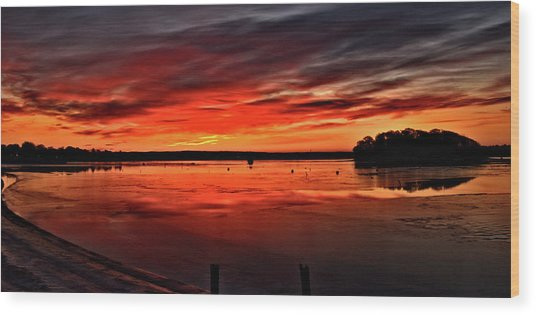 January Sunrise Onset Pier Wood Print
