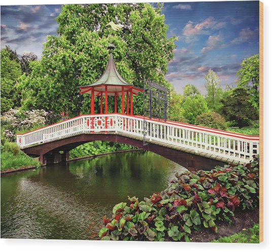 Japanese Bridge Garden Wood Print