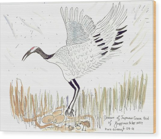 Japanese Crane And Her Nest Wood Print