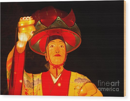 Japanese Dancer Lantern 2 Wood Print