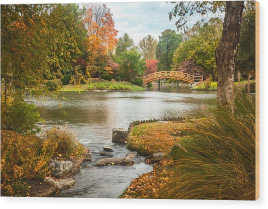 Wood Print featuring the photograph Japanese Garden Bridge Fall by David Coblitz