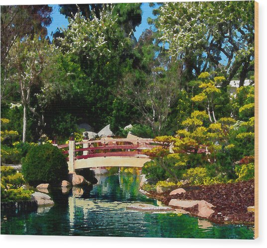 Japanese Garden Bridge Wood Print