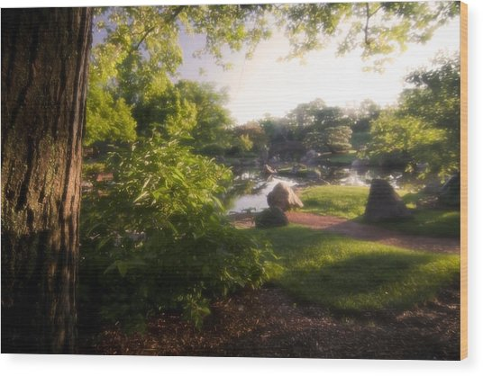 Japanese Garden In The Morning Wood Print
