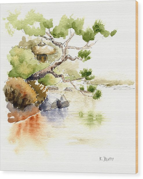 Japanese Garden Pond Sketch Wood Print