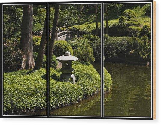 Japanese Garden Triptych Wood Print