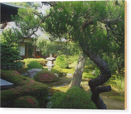 Japanese Garden V Wood Print by Wendy Uvino