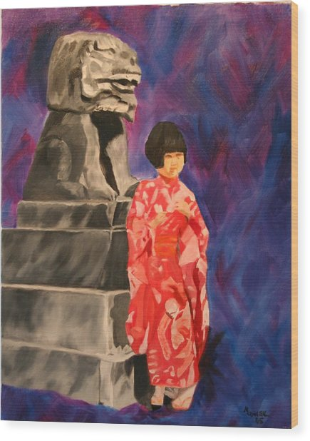Japanese Girl With Chinese Lion Wood Print by Marilyn Tower