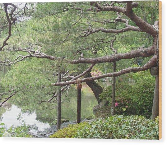 Japanese Landscape Viii Wood Print by Wendy Uvino