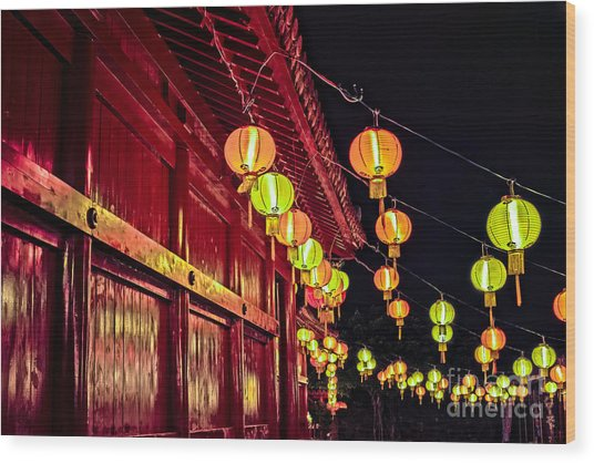 Japanese Lanterns 10 Wood Print