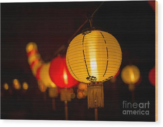 Japanese Lanterns 3 Wood Print