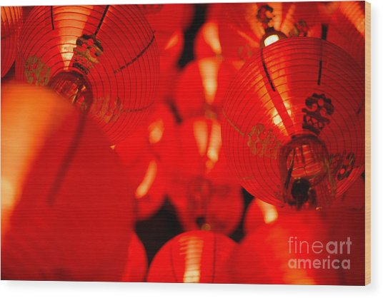 Japanese Lanterns 6 Wood Print