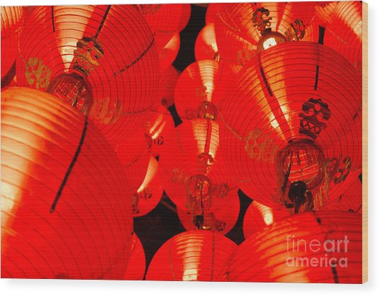 Japanese Lanterns 7 Wood Print