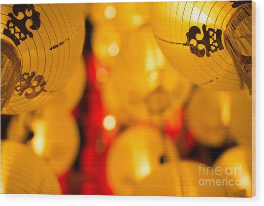 Japanese Lanterns 8 Wood Print