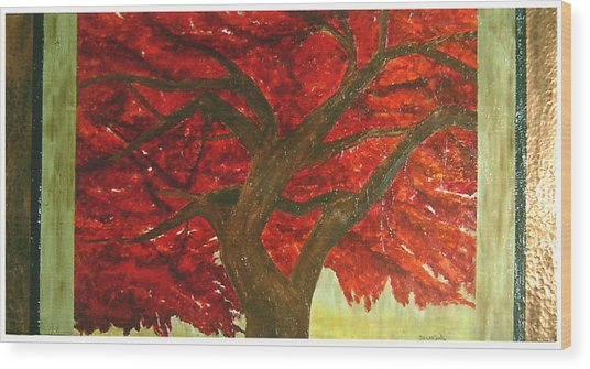 Japanese Maple Wood Print by Ellen Beauregard