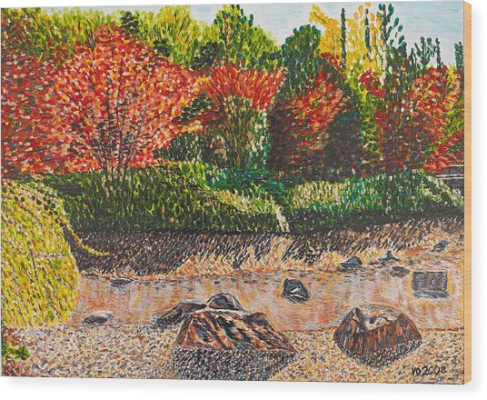 Japanese Maple Trees At The Creek Wood Print
