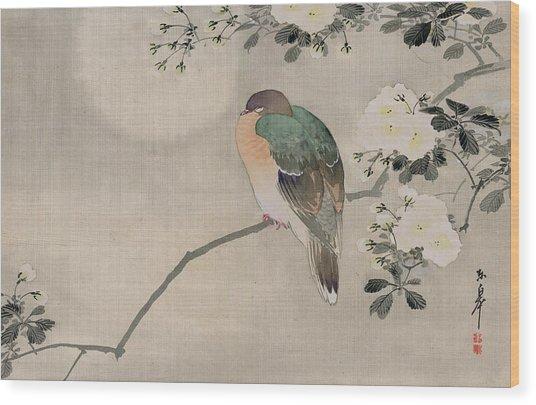 Japanese Silk Painting Of A Wood Pigeon Wood Print