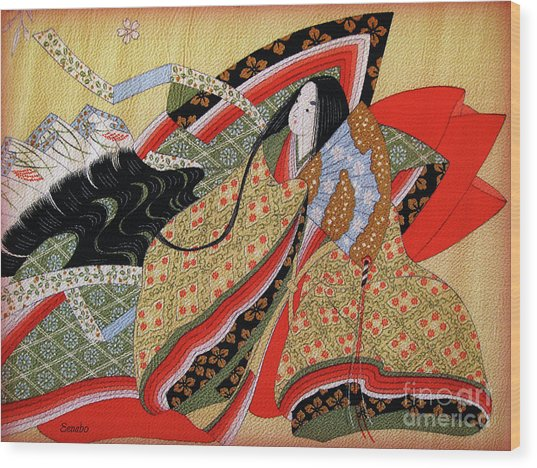 Japanese Textile Art Wood Print