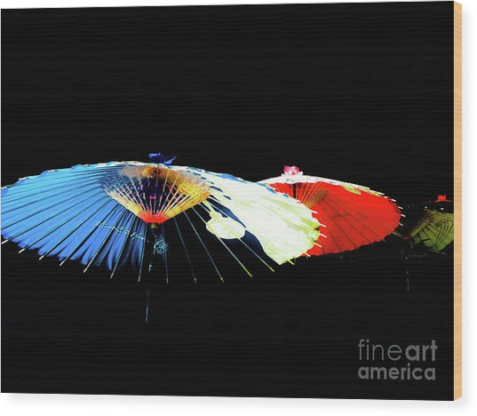 Japanese Umbrellas Assorted Colors Wood Print