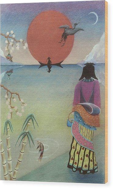 Japanese Woman Wood Print by Sally Appleby