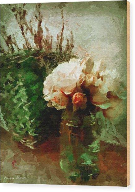 Jar Of Roses With Lavender Wood Print