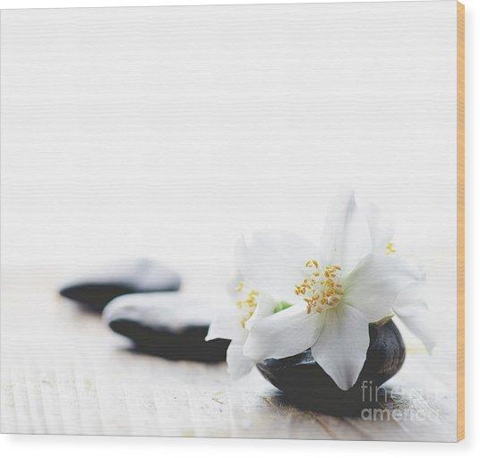 Jasmine Flower On Spa Stones Wood Print