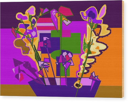 Jaune Mauve V Wood Print by Therese AbouNader
