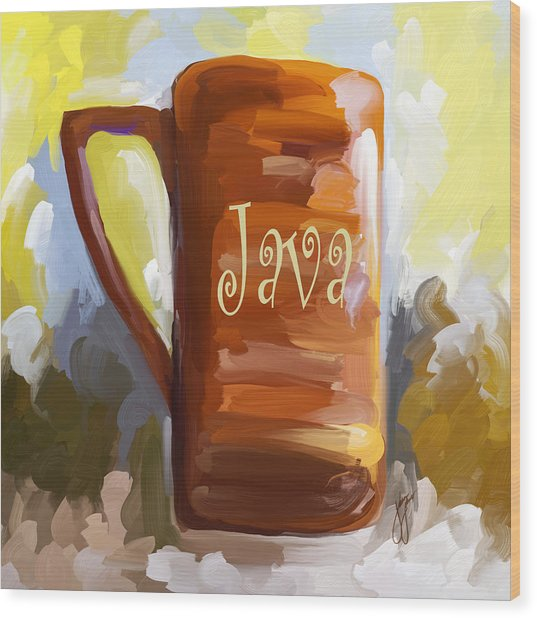 Java Coffee Cup Wood Print