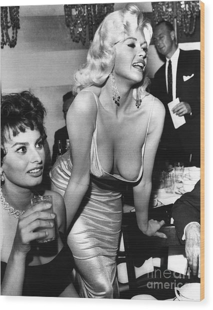Jayne Mansfield Hollywood Actress And, Italian Actress Sophia Loren 1957 Wood Print