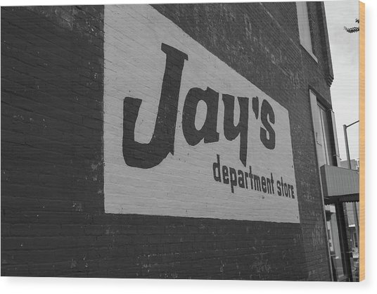 Jay's Department Store In Bw Wood Print