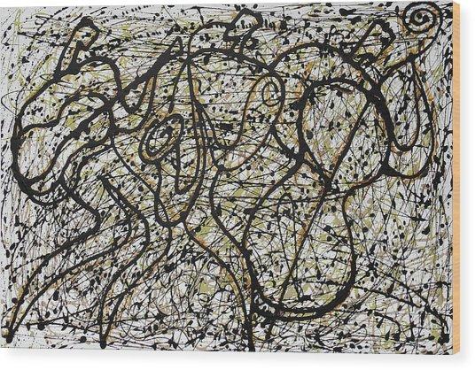 Jazz And Pollock Wood Print