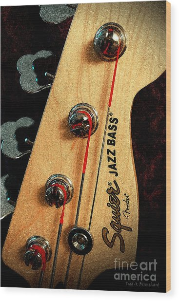 Jazz Bass Headstock Wood Print