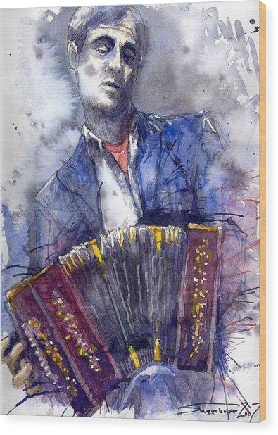 Jazz Concertina Player Wood Print