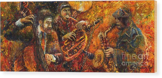 Jazz Gold Jazz Wood Print
