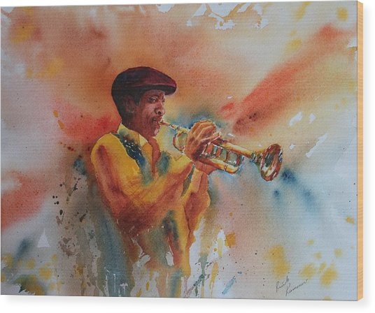 Wood Print featuring the painting Jazz Man by Ruth Kamenev