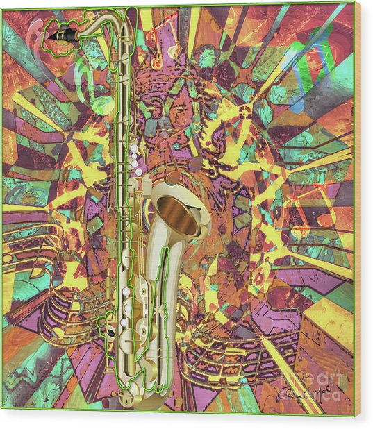 Wood Print featuring the digital art Jazz Me Up by Eleni Mac Synodinos