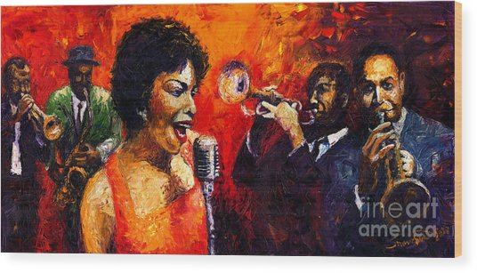 Jazz Song Wood Print